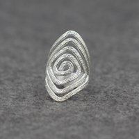 asian face shield - The opening face shield ring hollow thread on Sterling Silver JZ00476