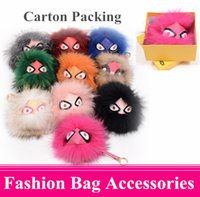 fox boxes - Hot Colors Carton Packing Mini Monster Metal Trendy Stuff for Bags Fox Feather Keychain Women Handbag Lady Bag Accessories With BOX