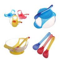 Wholesale 1Set Baby Kid Feeding Suction Bowl With Spoon Temperature Color Changing Spoons Tableware Sets Color To Choose