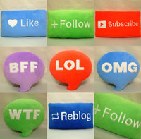 Wholesale 200pcs or More Styles Emoji Cushions Cartoon Comfortable Pillows Follow Like BFF OMG Reblog lovely English letters Stuffed Plush Toys