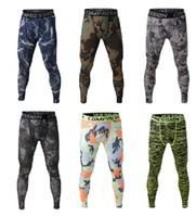 camouflage pants - Men compression long pants spandex running base layers skins tights army camouflage soccer pants New joggers trousers FREE SHIPPI