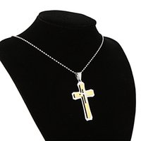 Cheap Fashion Masculine Stainless Steel Bead Ball Chain Gold Cross Male Pendant Necklace For Man