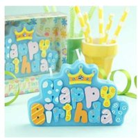 Wholesale Children s party supplies creative birthday candle smoke free letter Happy Birthday Cake Candle high grade green diamon crown Candle