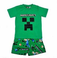 Frete grátis para crianças conjuntos de vestuário de Minas Ofício do Minecraft menino meninos top de manga curta + calça de pijama pijama, roupa de dormir conjunto de 4pcs