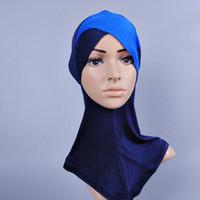 Wholesale Full Cover Inner Muslim Cotton Hijab Cap Islamic Head Wear Hat Underscarf Colors