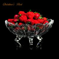 candy dish - Pro Quality Fruit Bowl with Three Feet Apple Dish Glass Candy Plate Best Kitchenware with