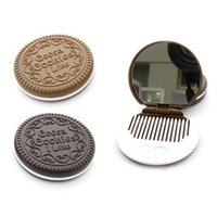 Wholesale 1pcs Xmas Gift Cookie Chocolate Shape Design Cosmetic Makeup Beauty Mirror Comb Tool