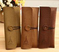 Wholesale Retail Paris Eiffel Tower pattern pen bag pencil case wallets purse makeup brush storage Cosmetic Bag Student stationery gifts