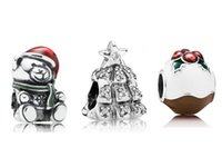 tree jewelry charms - Enamel Santa Beads And Winter Bear with Christmas Tree Charms Jewelry Set Fits European Style Charm Bracelet BR047