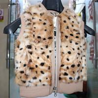 Wholesale 100 real rabbit fur vest Children winter rabbit fur vest Leopard boy girl fur real fur vest rabbit fur coat winter warm