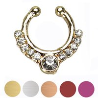 Wholesale Gofuly Best Selling Surgical Steel Zircon Fake Nose Ring Hoop Ring Nose Body Jewelry Fake Septum Rings Piercing