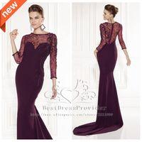 Cheap Tarik Ediz 2015 New Arrival Sheath Scalloped Long Sleeves Evening Gowns Dresses Beaded Floor-Length Top Lace Long Evening Dress