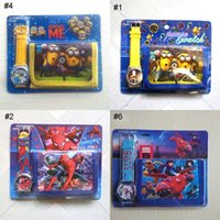 Wholesale Watches Wallet Cartoon Sets Despicable Me Minions The Avengers Wristwatches Quartz Bracelets Purse Watch Mixed For Children Kids
