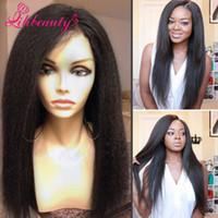 7A Kinky recta peluca llena del cordón Glueless lleno pelucas del pelo humano del cordón para las mujeres negras Peluca peruano barato del frente del cordón con el pelo del bebé