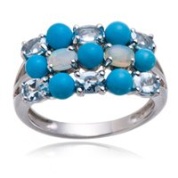 aquamarine opal ring - Altai Aquamarine and Opal Gemstone Solid Sterling Silver Cluster Ring Fine Jewelry
