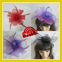 cheap black hair - Cheap Red Purple Black Cheap Flower Headwear Hair Accessories with Feather Fascinator Hat Cap HeadPiece for Wedding Party Prom In Stock