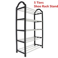 Wholesale Home Excellent Quality Luxury Aluminum Tier Shoe Tower Rack Stand Space Saving Organiser Storage Unit Shelves Black