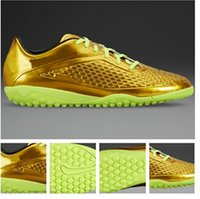 Wholesale New Arrivals Men s Turf Soccer Shoes Gold Indoor Ball Boots Fashion Athletic Shoe US Size