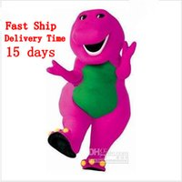 barneys shipping - Fast Ship In Store custom made cheap Barney T Mascot Costume Adult Size Character Costume for christmas halloween Free shippping EMS