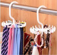 belt rack - 2015 Hot Sale White Practical Spins Degree Rotating Scarf Belt Tie Rack Organizer Hanger Hold Ties Belts Household Hanger K4656