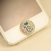 Cheap Wholesale-Min.order is $10(Mix order)Free Shipping Cute Rhinestone Kitty Botton Cell Phone Keypads