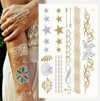 glitter tattoo stencil - Sexy Temporary Tattoo Stickers Temporary Body Art Supermodel Stencil Designs Waterproof Glitter Metallic Gold Silver Tattoos Jewelry Sticker
