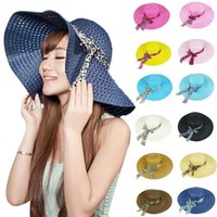 Wholesale Delicate Sun Helmet Hollow Straw Hat For Women Summer Beach Cap Bow Ribbon Hats May22 Hot Selling