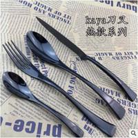 Wholesale 3pcs CCA3608 set Polished Stainless Flatware Cutlery Dinnerware Set Steak Knife Spoon Fork Spork Western Tableware Sets Jogo De Jantar