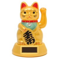 Wholesale Chinese Style Attractive Cute Waving Solar Battery Lucky Smile Cat Kitty Fortune Beckoning Money Wealth Best Wishes Home Decor