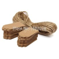 Wholesale 100X Brown Kraft Paper Tags Lace Scallop Head Label Lage Wedding Note String DIY Blank price Hang tag Kraft Gift Hang tag