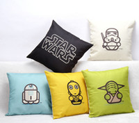 throw pillows square - New Star Wars Cotton Linen Decorative Throw Pillow Case Sofa Chair Cushion Cover Home Decoration style