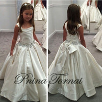 little white dresses - 2016 Gorgeous Ivory Little Flower Gril s dresses with PNINA TORNAI Beaded Birthday girls pageant gowns Flower Girl dresses CC02
