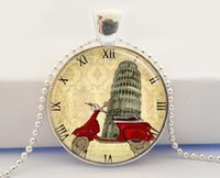art scooter - Vespa Scooter Necklace Italy Leaning Tower of Pisa World Travel Italian Art Pendant Necklace