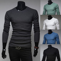 Wholesale 2015 Spring Men s Sweaters Crew Neck long sleeve knitted Cotton Clothing fashion mens winter Slim Hedging Sweater colors M L XL XXL