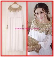 Cheap Free shipping floor-length heavy beaded chiffon fancy dubai women kaftan abaya evening dress design caftan fashion 2014