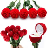 Wholesale 1 Novelty Red Rose Ring Box For Engagement Wedding Earrings Pendants Jewelry Case