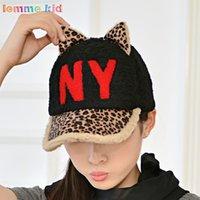 Wholesale baseball cap Korean version of the fall and winter hat lovely new winter fashion warm letters NY baseball cap hat plush Orecchiette