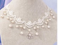 Wholesale New Arrival Elegant White Lace Collar chain Jewelry Pendant Sexy Pearl Noble Necklace