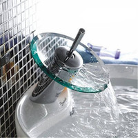 Wholesale Bathroom waterfall Faucet Chrome Finish Basin Faucet Mixer Tap Waterfall Faucet Bathroom sink glass Mixer Tap
