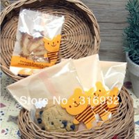 bear cookies - E1 plastic cute yellow bear teddy style biscuit cookie cupcake packaging bags
