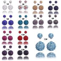 zirconia stud earrings - Top grade silver earrings for women Shambhala Wedding Double Ball Stud Earrings Engagement silver Jewelry WH