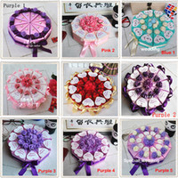 Pink paper cake box - Romantic Purple Candy Boxes Cake Shape Purple Flower Decoration Bowknot Ribbon Wedding Favors Party Gift Boxes Holders H047