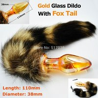 adult male cat costume - 151020 Gold crystal butt plug pyrex glass Anal dildo with to fox cat tail Adult costume game sex toy product for women men masturbation