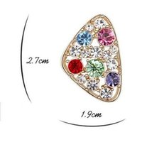 Wholesale Korean Style Colored Crystal Inlaid Triangle Shape Ear Stud Female Alloy Jewelry Earring