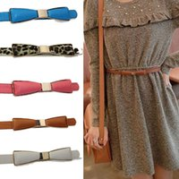 Wholesale 1PC New Candy Adjustable Bow Leather Girl Women Slender Slim Belt Freeshipping