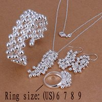 african shaped earrings - HIGH QUALITY HOT Sterling Silver Jewelry Sets For Women Grapes Shapes Necklaces Pendants Ring Bracelets Bangles Earrings set