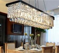 Wholesale 8 Lights L39 quot X W10 quot X H10 quot Clear Crystal Rectangle Chandelier RainDrop Design Lamp Flush Mount Lighting