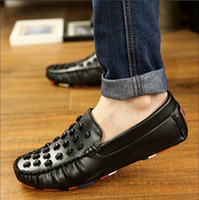 mens shoes - New Fashion Sneakers genuine leather mens breathable Gommini driving shoes men s loafers male casual Shoes LF009