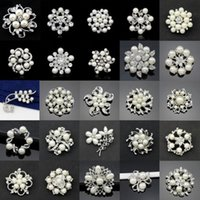 Wholesale Top Grade New Fahion Silver Brooches Hot Sale Crystal Pearl Flower Butterfly Brooch Pins for Party Silver Jewelry Free Ship DR