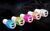Wholesale LED Lighting Car charger Steel Ring dual usb A A port universal travel adapter for iphone s ipad6 mini4 samsung Galaxy HUAWEI